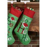 Ho Ho Ho Christmas Stocking Green