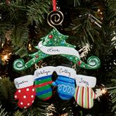 Four Mitten Family Ornament Multi Warm