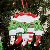 Five Stocking Family Ornamant Multi Warm