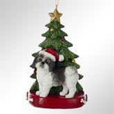 Shih Tzu in Black and White Christmas Ornament Multi Warm