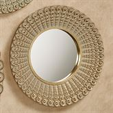 Alexander Beaded Round Wall Mirror Gold Medium