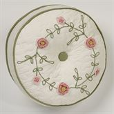 Pretty Posy Gusseted Tufted Pillow Ivory Round