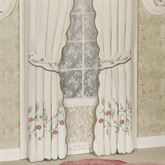 Pretty Posy Tailored Curtain Pair Ivory 84 x 84