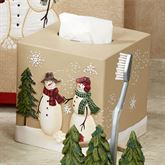 Snowmen Gathering Tissue Cover Natural