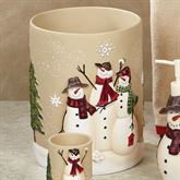 Snowmen Gathering Wastebasket Natural