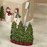Snowmen Gathering Toothbrush Holder Natural