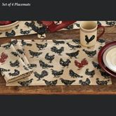 Hen Pecked Placemats Black Set of Four