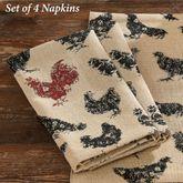 Hen Pecked Napkins Black Set of Four