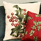 Holly Red Hooked Square Pillow Dark Red 18 Square