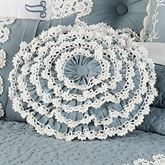 Devotion Ruffled Pillow Steel Blue Round
