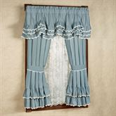 Devotion Ruffled Curtain Pair Steel Blue 84 x 63