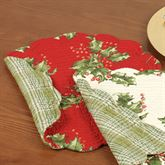 Holly Berry Quilted Round Placemat Set