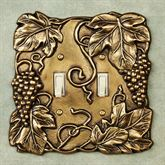 Bounty of Grapes Double Switch Antique Brass