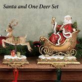 Santa and One Deer Stocking Holder Set