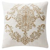 Annalise Beaded Embroidered Pillow Ivory 16 Square