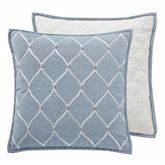 Gracious Florence Reversible Embroidered Pillow Steel Blue 18 Square