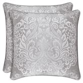 La Scala Reversible Medallion Piped Pillow Silver 20 Square