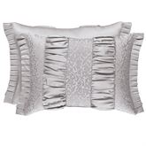 La Scala Ruched Flanged Pillow Silver Rectangle