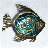 Fish Glass and Metal Wall Art Black/Gold