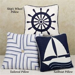 Nantucket Dream Sailboat 14 Square Pillow Blue 14 Square