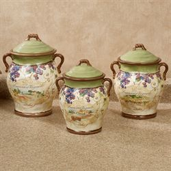 Vino Grapes Kitchen Canisters Cream Set of Three