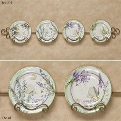 Herbes de Provence Dessert Plates Green Set of Four
