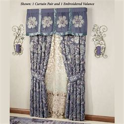 Milana Floral Tailored Curtain Pair Slate 84 X