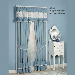 Reminisce Ruffled Curtain Pair Sterling Blue 84 x 84