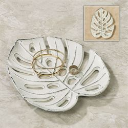 Benito Tropical Leaf Decorative Tray Antique White
