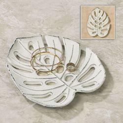 Benito Tropical Leaf Decorative Tray Antique White