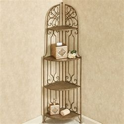 Abbianna Four Tier Corner Etagere Antique Gold