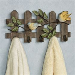 Birds on Fence Wall Hook Rack Multi Earth