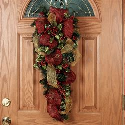 Glamour Mistletoe Door Swag Red