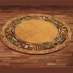 Inlaid Border Round Rug Gold