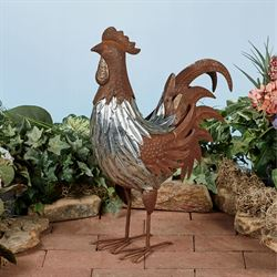 Galvanized Rooster Sculpture Silver