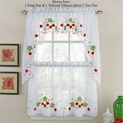 Wild Strawberry Semi Sheer Tier Pair Red