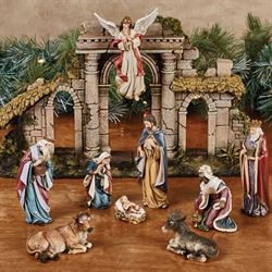 Heirloom Nativity Set Multi Warm Set of Twelve