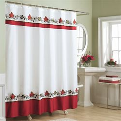 Poinsettia Holiday Shower Curtain White 70 x 72