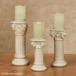 Classic Column Candleholders Ivory Set of Three