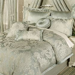villa verde celadon puff jacquard damask comforter bedding - Touch Of Class Bedding