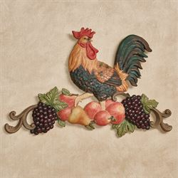 Tuscany Rooster Wall Plaque Multi Jewel