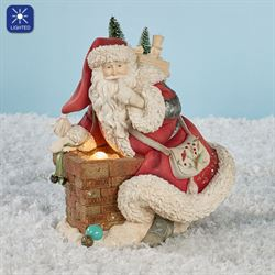 Santa with Chimney Figurine Multi Warm