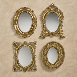 Adorabelle Accent Mirrors Antique Gold Set of Four