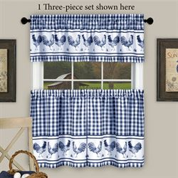 Backyard Biddy Rooster Tier and Valance Set Midnight Blue