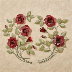Le Fleurs Rose Spray Wall Art Red Set of Two