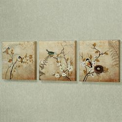 Kiss of Nature Canvas Wall Art Beige Set of Three