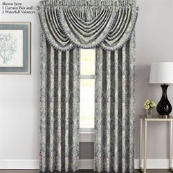 Miranda Wide Tailored Curtain Pair Steel Blue 100 x 84