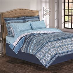 Raya Comforter Bed Set Dark Blue