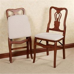 Scroll Back Folding Chair Pair Classic Cherry Pair