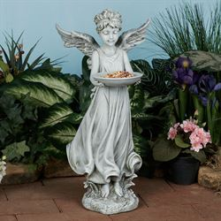 Cherub Angel Bird Feeder Garden Statue Gray